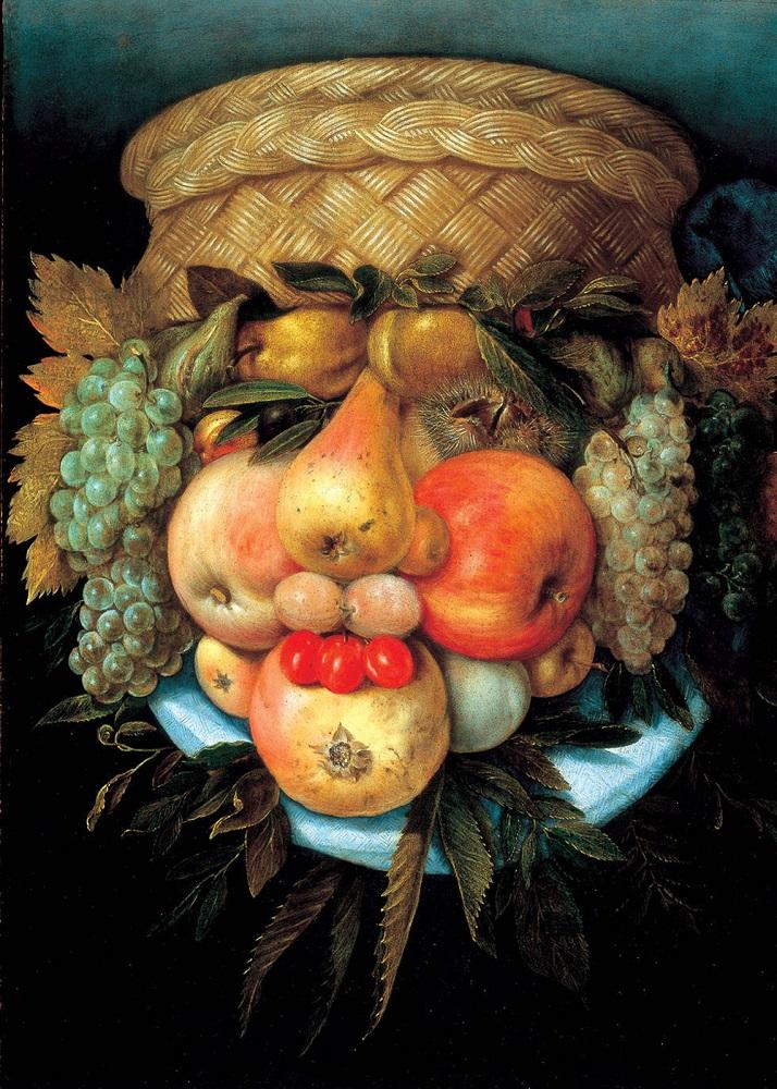 Фото 3. На картине изображена корзина с фруктами, но если ее перевернуть, можно увидеть изображение мужской головы